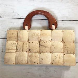 Wood tile small handbag / purse